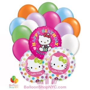 Hello Kitty Happy Birthday Mylar Latex Balloon Bouquet Inflated - cheap balloons NYC delivery Balloon Shop