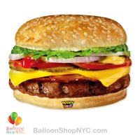 Mighty Bright Cheeseburger Jumbo Mylar Balloon 31 inch Inflated high-quality cheap balloons nyc delivery