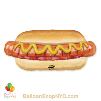 Mighty Bright Hotdog Jumbo Funny Mylar Balloon 34 inch Inflated high-qualty cheap nalloons nyc delivery