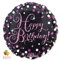 Happy Birthday Pink Celebration Holographic 18 Inch Mylar Balloon Inflated high-quality cheap balloons nyc delivery