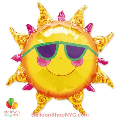 Prismatic Sun Shaped Jumbo Foil Balloon 24 Inch Inflated high-quality cheap balloons nyc delivery