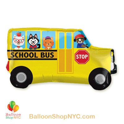 School Bus Jumbo Foil Balloon 30 Inch Inflated high-quality cheap balloons nyc delivery