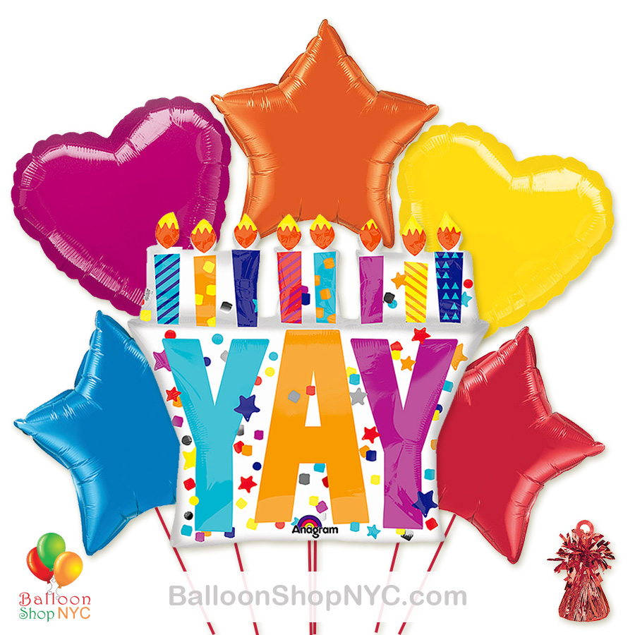 Yay Its Your Birthday Mylar Balloon Bouquet Inflated High Quality Cheap Balloons Nyc Delivery