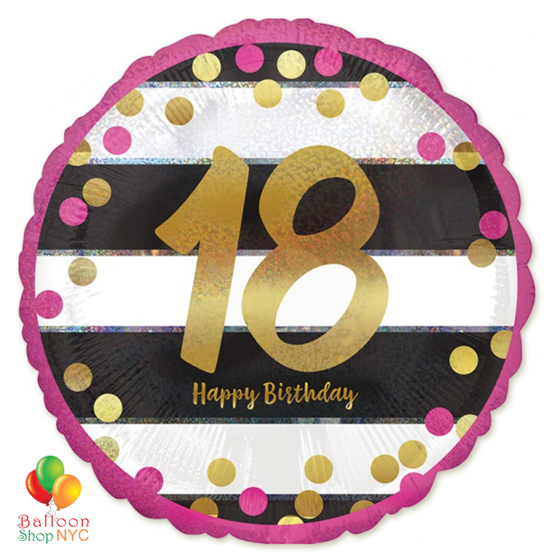 18th Milestone Happy Birthday Pink Gold Mylar Balloon 18 Inch Inflated High Quality Cheap