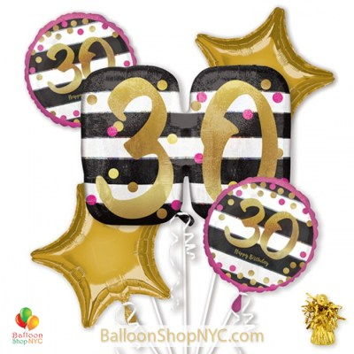 30th Milestone Happy Birthday Pink & Gold Mylar Balloon Bouquet Inflated high-quality cheap balloons nyc delivery