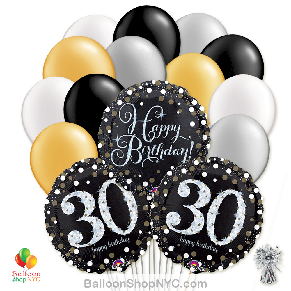 30th Sparkling Happy Birthday Mylar Latex Pearl Balloon Bouquet Inflated High Quality Cheap Balloons Nyc