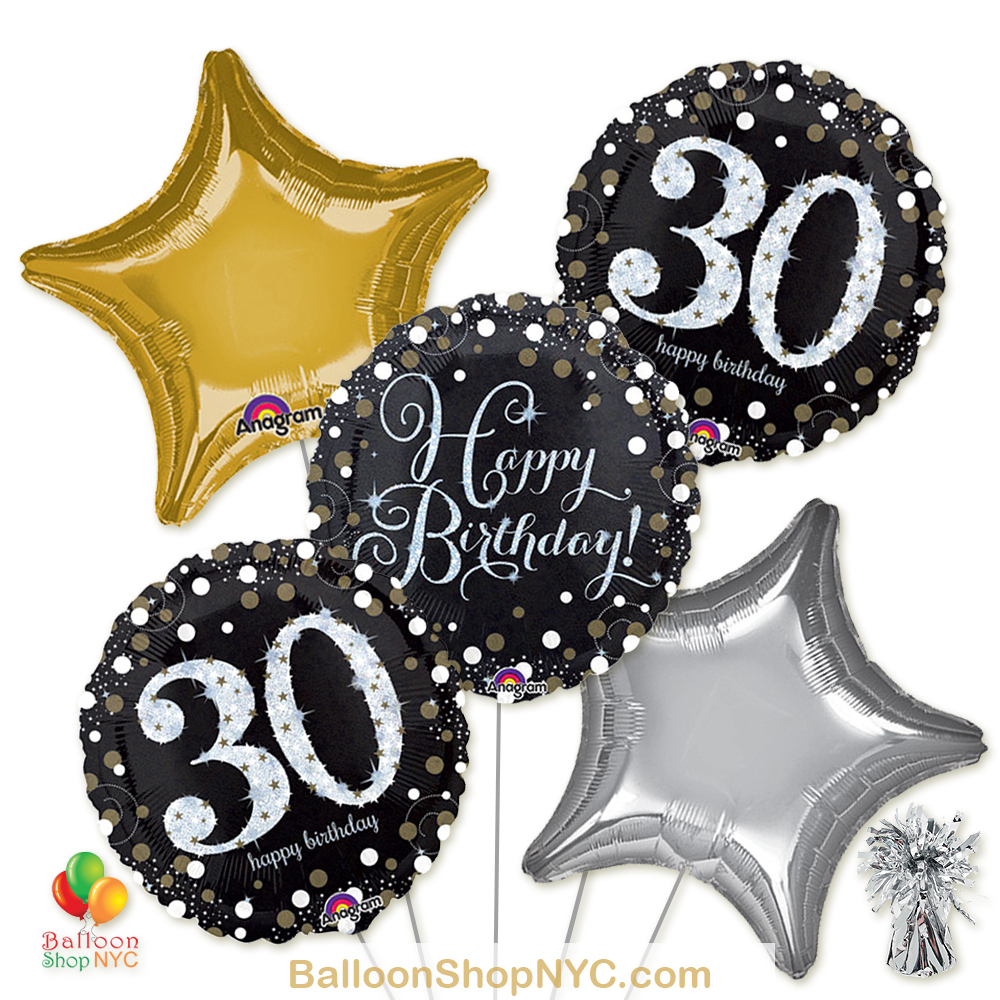 30th Sparkling Happy Birthday Mylar Stars Balloon Bouquet Inflated High Quality Cheap Balloons Nyc Delivery