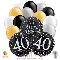 40 Sparkling Happy Birthday Mylar Latex Pearl Balloon Bouquet Inflated high-quality cheap balloons nyc delivery