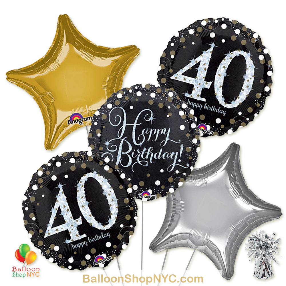 40th Sparkling Happy Birthday Mylar Stars Balloon Bouquet Inflated High Quality Cheap Balloons Nyc Delivery