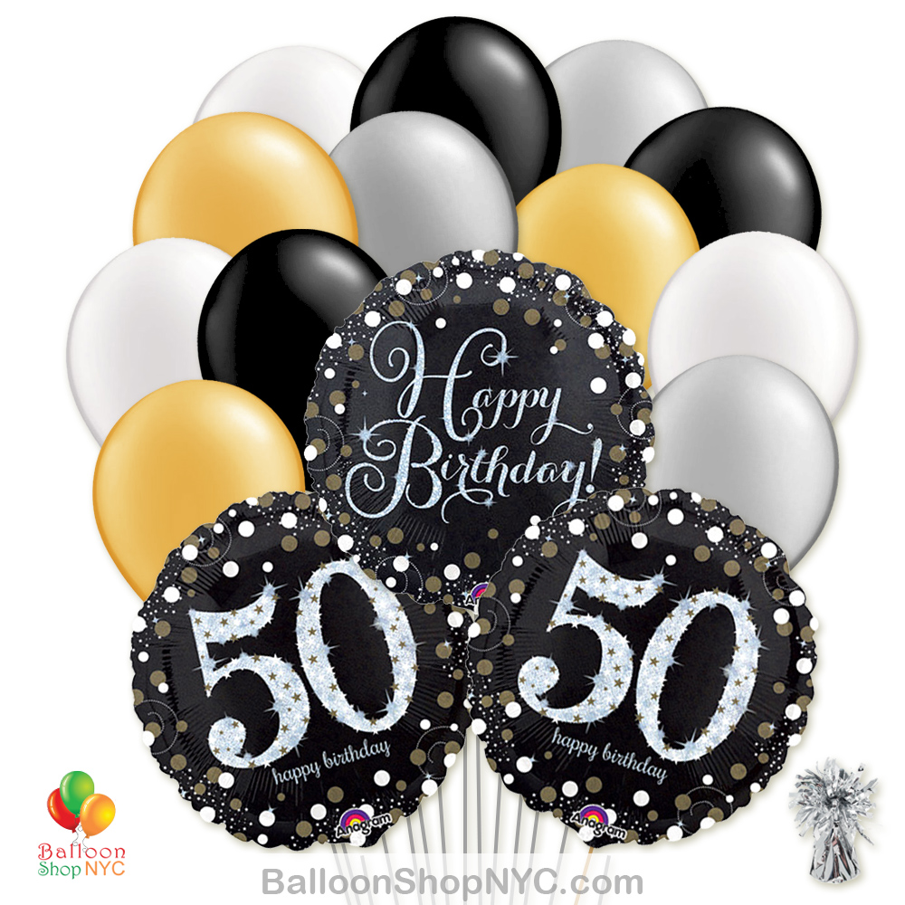 50th Sparkling Happy Birthday Mylar Latex Pearl Balloon Bouquet Helium Inflated High Quality Cheap Balloons