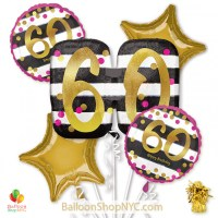 60th Milestone Happy Birthday Pink Gold Mylar Balloon Bouquet Helium Inflated high-quality cheap balloons nyc delivery
