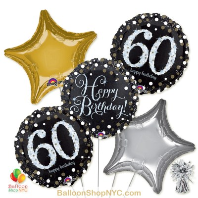 60th Sparkling Happy Birthday Mylar Stars Balloon Bouquet Helium Inflated high-quality cheap balloons nyc delivery