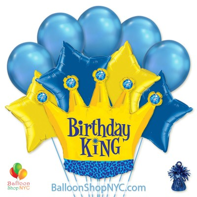 Birthday King Crown Gold Blue Mylar Latex Balloon Bouquet Helium Inflated high-quality cheap balloons nyc delivery