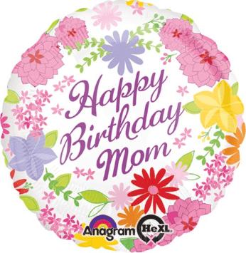 "Flowers Happy Birthday 18/"" FoilHelium Balloon"