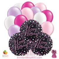 Pretty Pink Happy Birthday Mylar Latex Pearl Balloon Bouquet Delivery New York City from Balloon Shop NYC