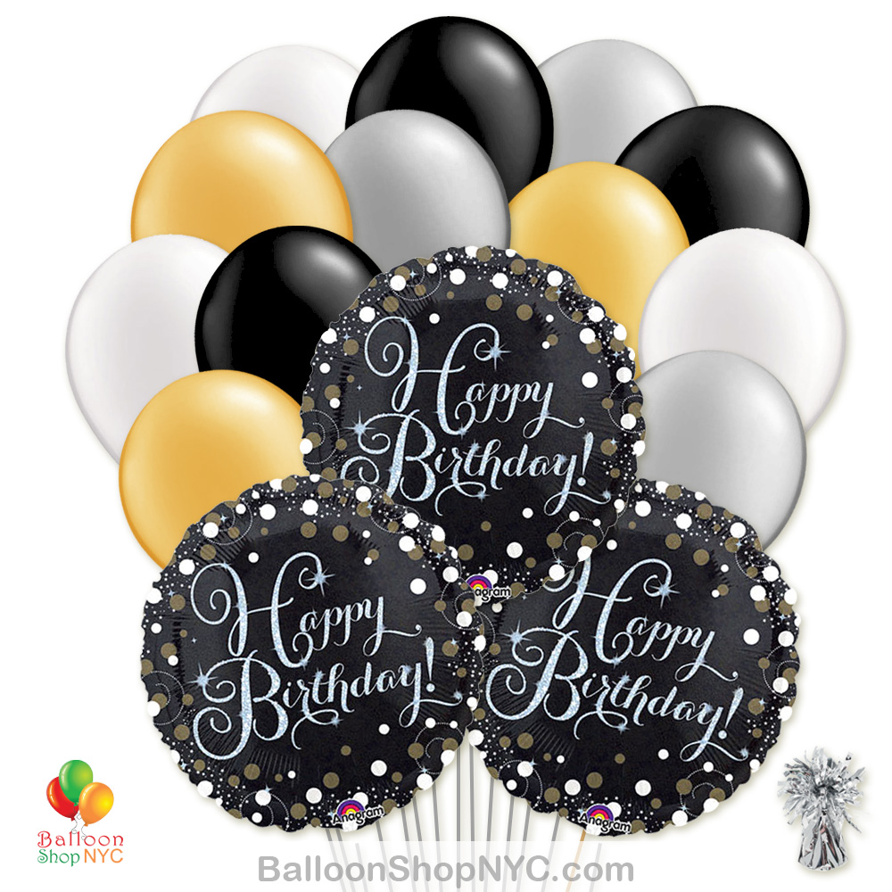 Sparkling Happy Birthday Mylar Latex Pearl Balloon Bouquet Delivery New York City From Shop NYC
