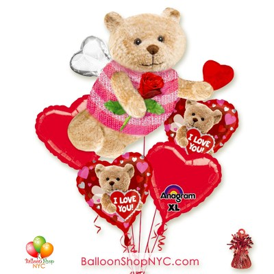 Bee Bear Love You Valentines Balloon Bouquet Inflated With Weight Delivery from Balloon Shop NYC