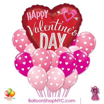 Big Hearts Arrow Pink Rose Latex Balloons Bouquet Delivery in New York from Balloon Shop NYC