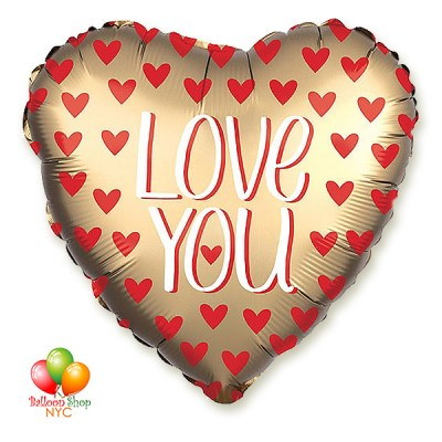 Gold Heart Red Hearts Love You Valentines Balloon 18 Inch Inflated Delivery in New York from Balloon Shop NYC