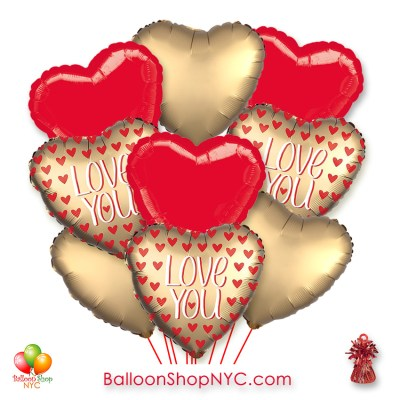 Gold Heart Red Hearts Love You Valentines Balloon Bouquet with Weight Delivery in New York from Balloon Shop NYC