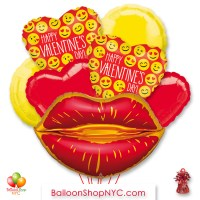 Happy Valentines Day Lips Emoji Balloon Bouquet with Weight Delivery in New York from Balloon Shop NYC