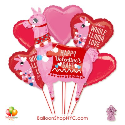 Happy Valentines Day LLama Love Balloon Bouquet with Weight Delivery in New York from Balloon Shop NYC