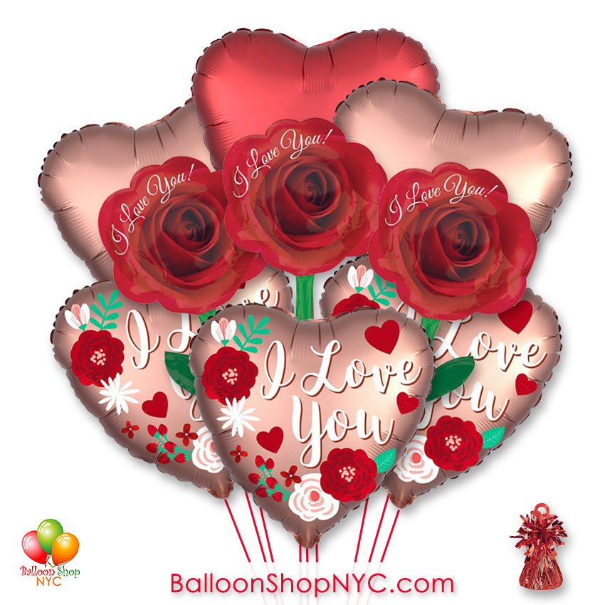 I Love You Roses Valentines Day Balloon Bouquet New York Delivery