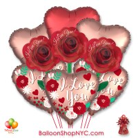 I Love You Roses Valentines Day Balloon Bouquet with Weight Delivery in New York from Balloon Shop NYC
