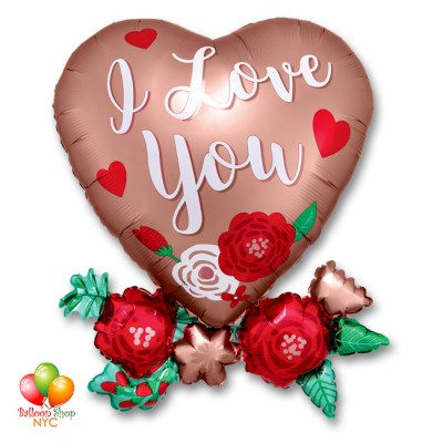 Love You Rose Copper Valentines Balloon 30 Inch Inflated Delivery in New York from Balloon Shop NYC