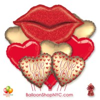 Large Red Glitter Lips Valentines Day Balloon Bouquet with Weight delivery in New York from Balloon Shop NYC