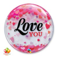 Love You Hearts Valentines Bubble Balloon 22 Inch Inflated Delivery in New York from Balloon Shop NYC