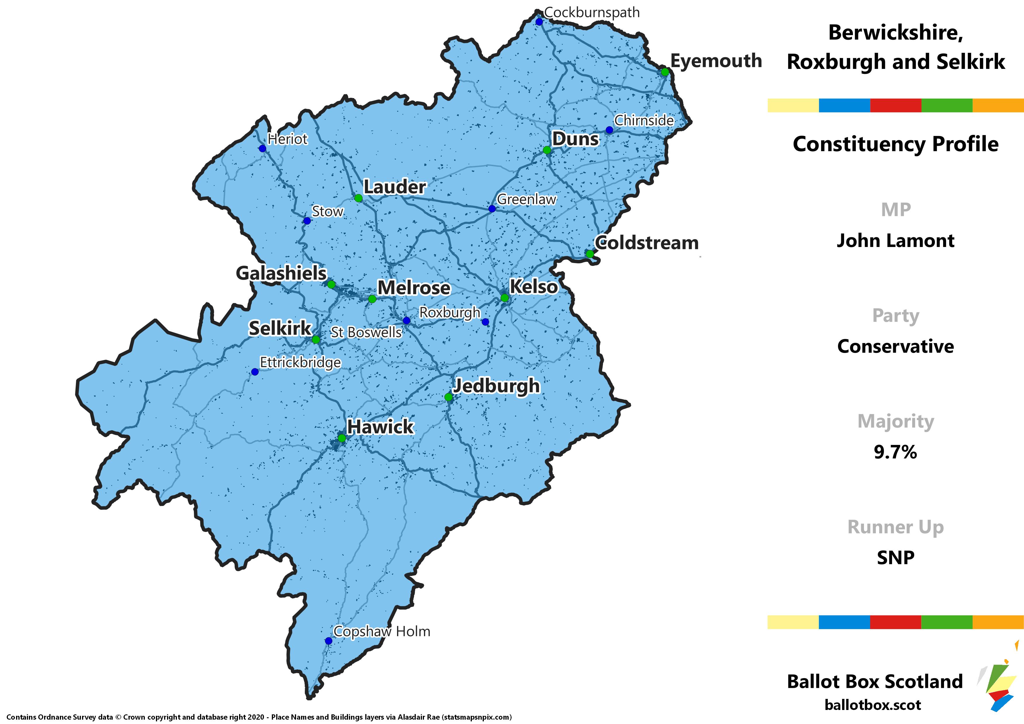Berwickshire, Roxburgh and Selkirk Constituency Map