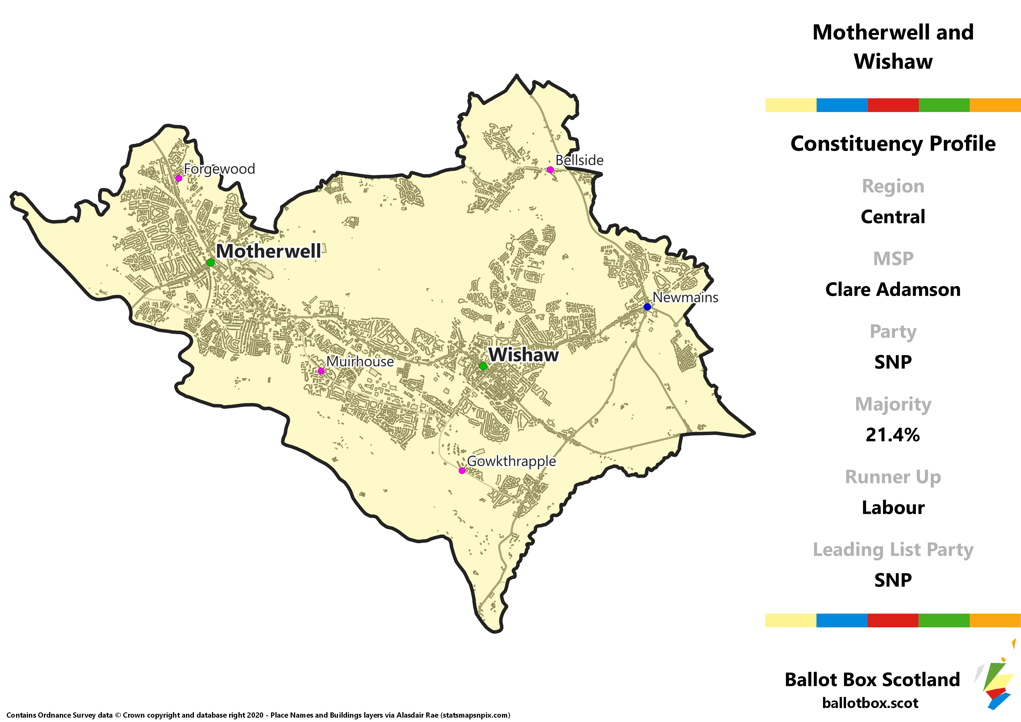 Central Region – Motherwell and Wishaw Constituency Map