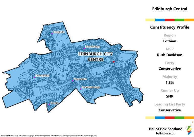 Lothian Region - Edinburgh Central Constituency Map