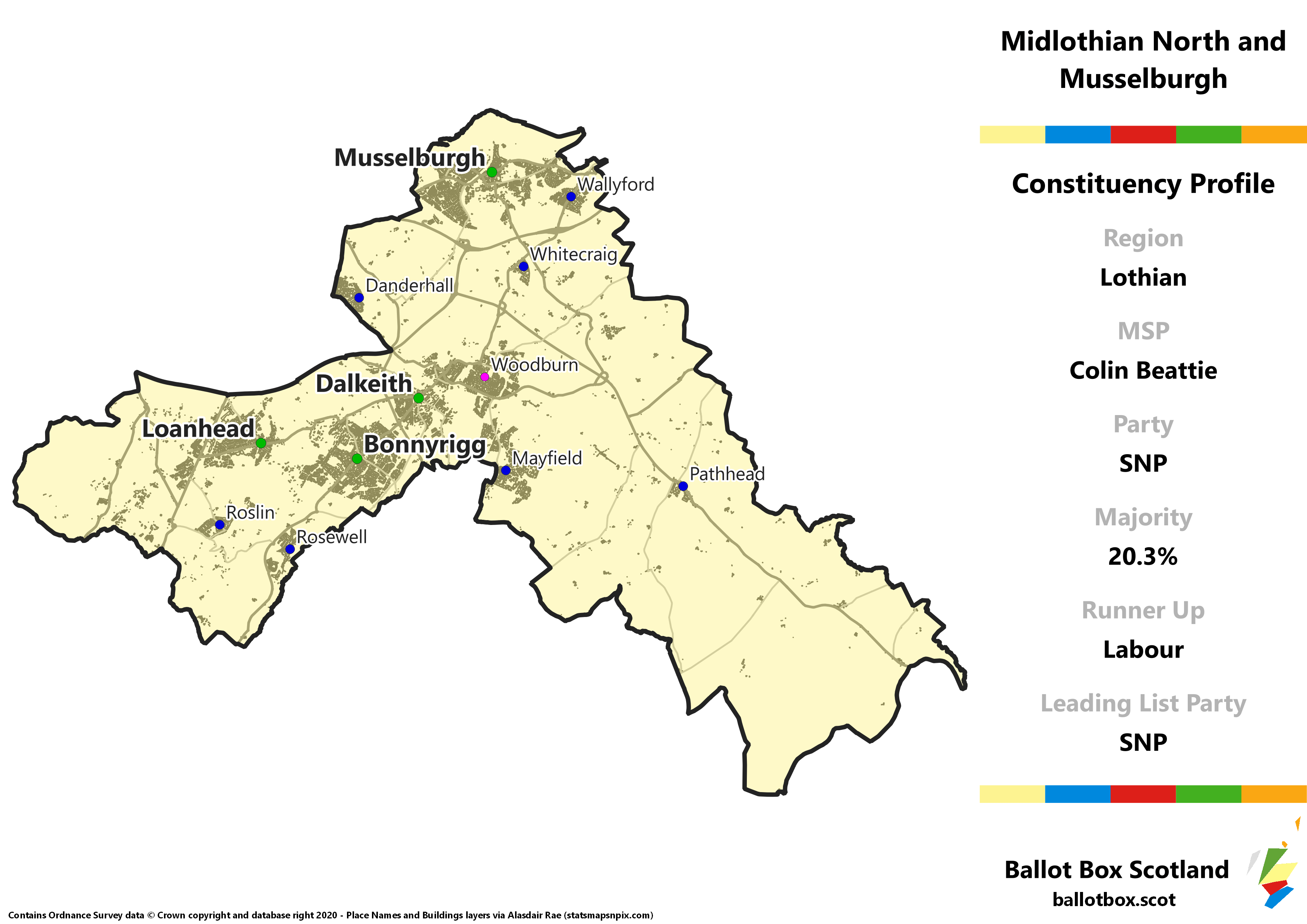 Lothian Region – Midlothian North and Musselburgh Constituency Map