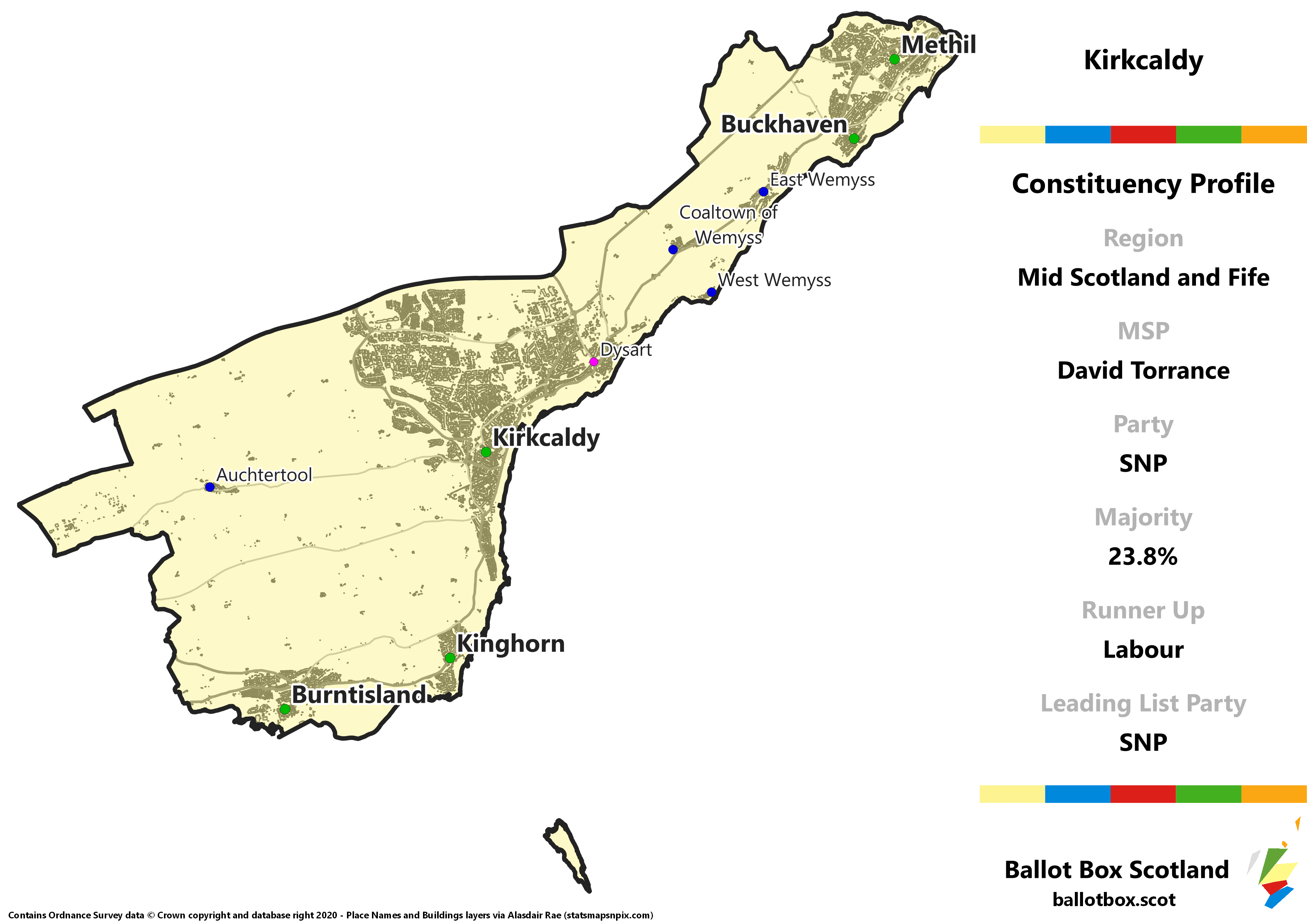 Mid Scotland and Fife Region – Kirkcaldy Constituency Map