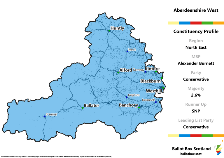 North East Region - Aberdeenshire West Constituency Map