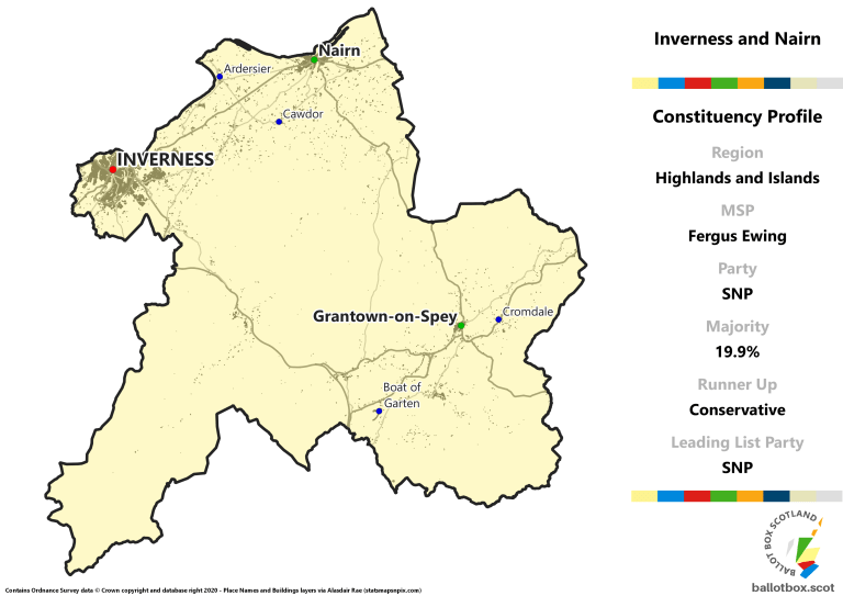 Highlands and Islands Region - Inverness and Nairn Constituency Map