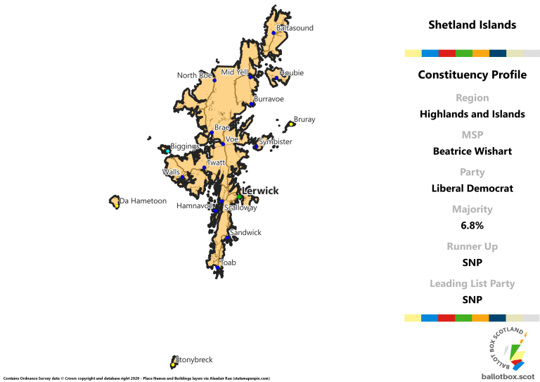 Highlands and Islands Region - Shetland Islands Constituency Map