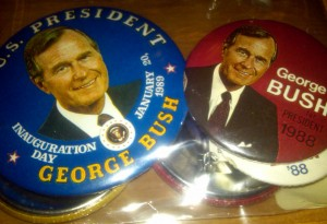 Campaign buttons From George H.W. Bush's 1988 Presidential campaign. Bush, was a former college baseball player. Photo R. Anderson
