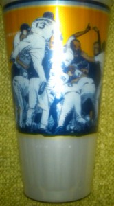 The back of the cup commemorating the Tampa Bay Rays first World Series appearance. Photo R. Anderson