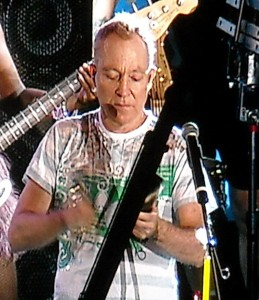 Fred Schneider of the rock band The B-52's is definitely someone who enjoys more cowbell has demonstrated during a concert at Tropicana field. Photo R. Anderson