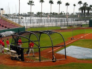 Members of Team Canada take batting practice during a 2012 exhibition game at Al Lang Stadium in St. Petersburg, FL. Photo R. Anderson