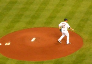 Bud Norris threw the first pitch of both the 2013 regular season as well as the first pitch for a member of the Astros in the American League. Photo R. Anderson