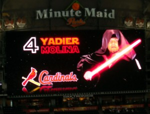 Yadier Molina of the St. Louis Cardinals becomes the evil emperor during Star Wars Night at Minute Maid Park. Photo R. Anderson