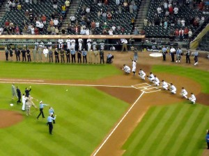 Ceremonial pitches honoring the troops and first responders. Photo R. Anderson
