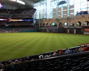 While waiting for the Astros to be competitive again fans at Minute Maid Park can enjoy plenty of elbow room and of course an obstructed view of downtown. Photo R. Anderson
