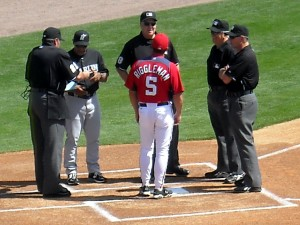 Time will tell whether the new power to challenge calls improves or strains the umpire/manager dynamic. Photo R. Anderson