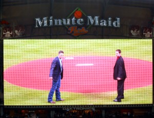 Lance Berkman and Roy Oswalt threw out the ceremonial first pitches after a pregame ceremony honoring them for their time with the Houston Astros. Photo R. Anderson