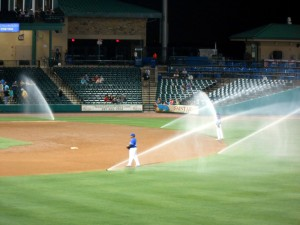 Sometime you win, sometimes you lose and sometimes the grounds crew forgets to turn off the timer on the sprinkler system. Photo R. Anderson